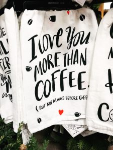Get your favorite coffee lover one of these hand-lettered kitchen towels from Seasons to Follow.
